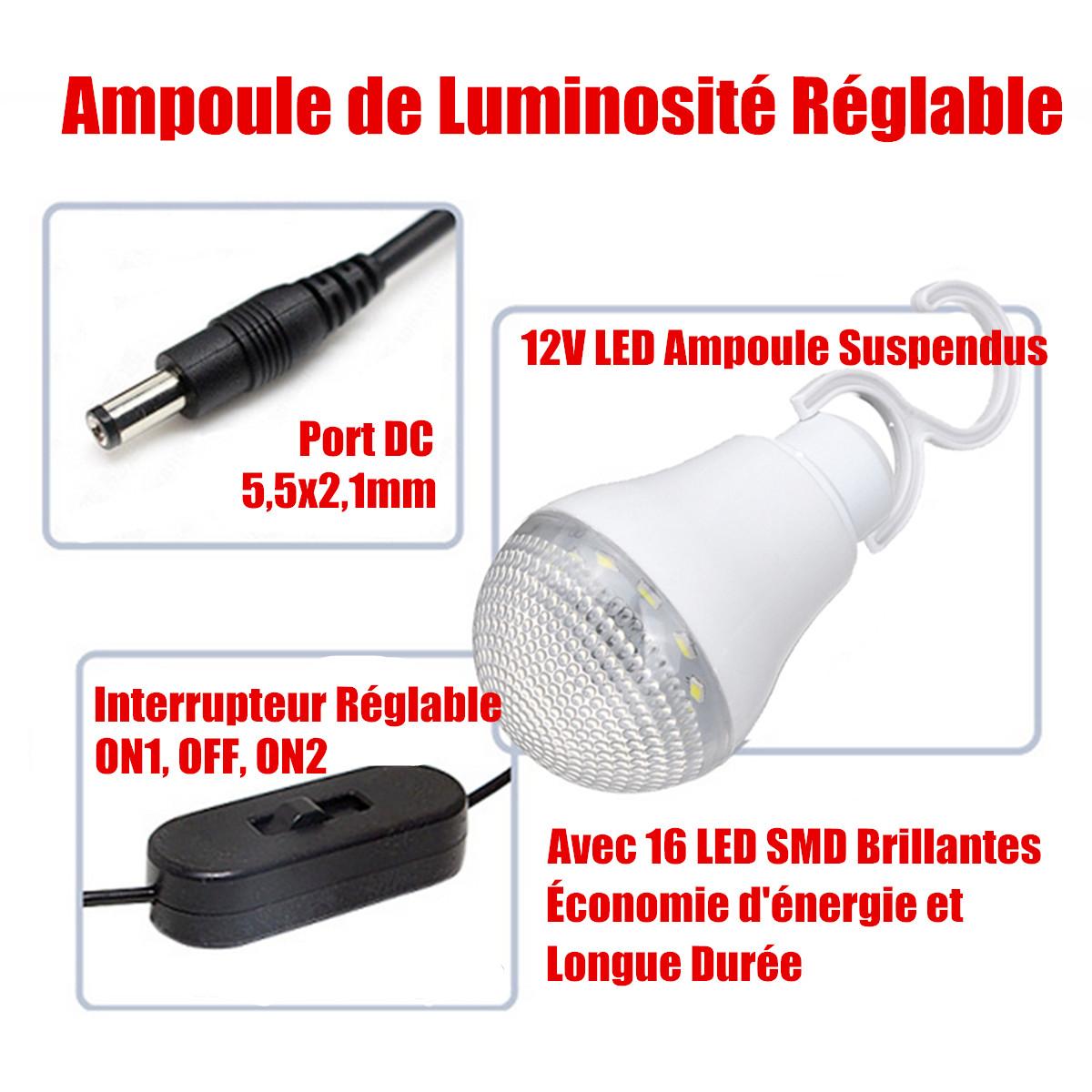 Puissance Panneau Photovoltaique intérieur 18w 10v panneau solaire + 4 ampoule 2 usb chargeur à téléphone