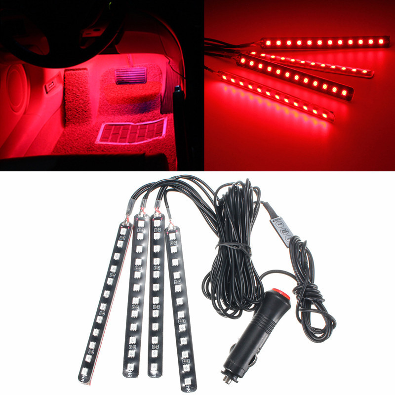 neufu 4en1 12 led lampe voiture int rieur allume cigare atmosph re contr leur rouge achat. Black Bedroom Furniture Sets. Home Design Ideas
