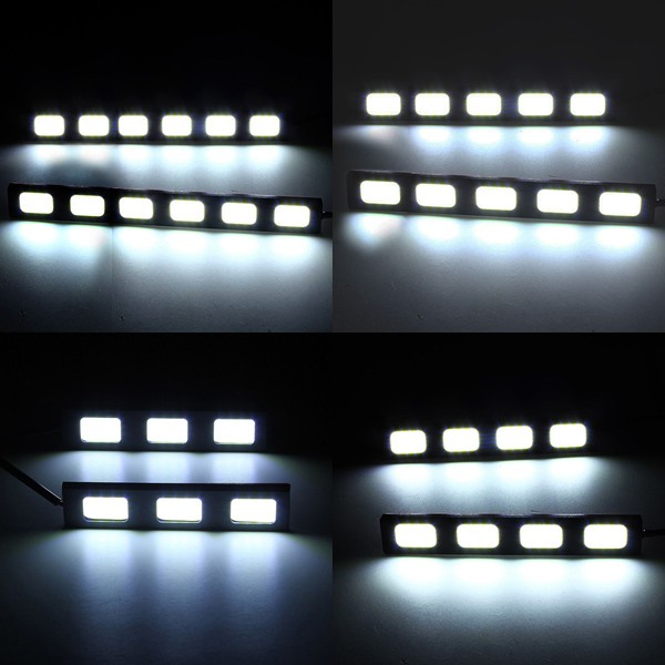 12V 3/4/5/6LED COB Car DRL Driving Daytime Running Lamp Fog Light White 9cm