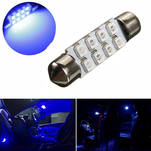 Blue 39mm LED 3528 8 SMD Festoon Bulb Car Dome Light