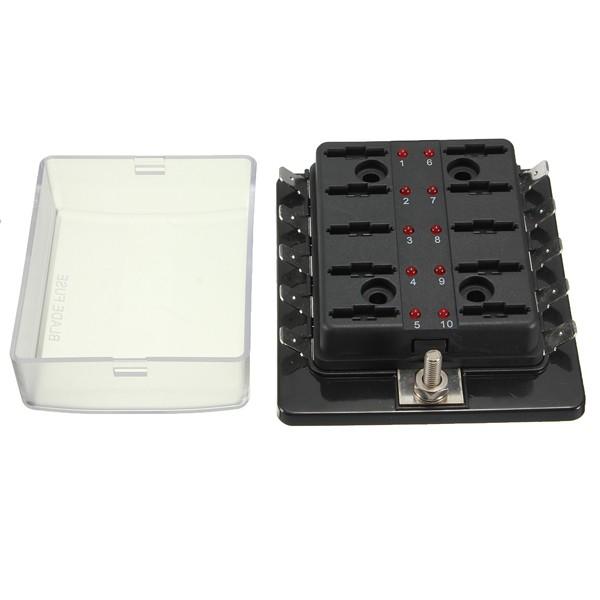 1 Power In 10 Way Circuit Fuse Box Blade Fuse Box Puseholder LED Blown Warning