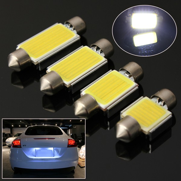 6W 6000K COB LED C5W Festoon Bulb No Error Number License Plate Light White
