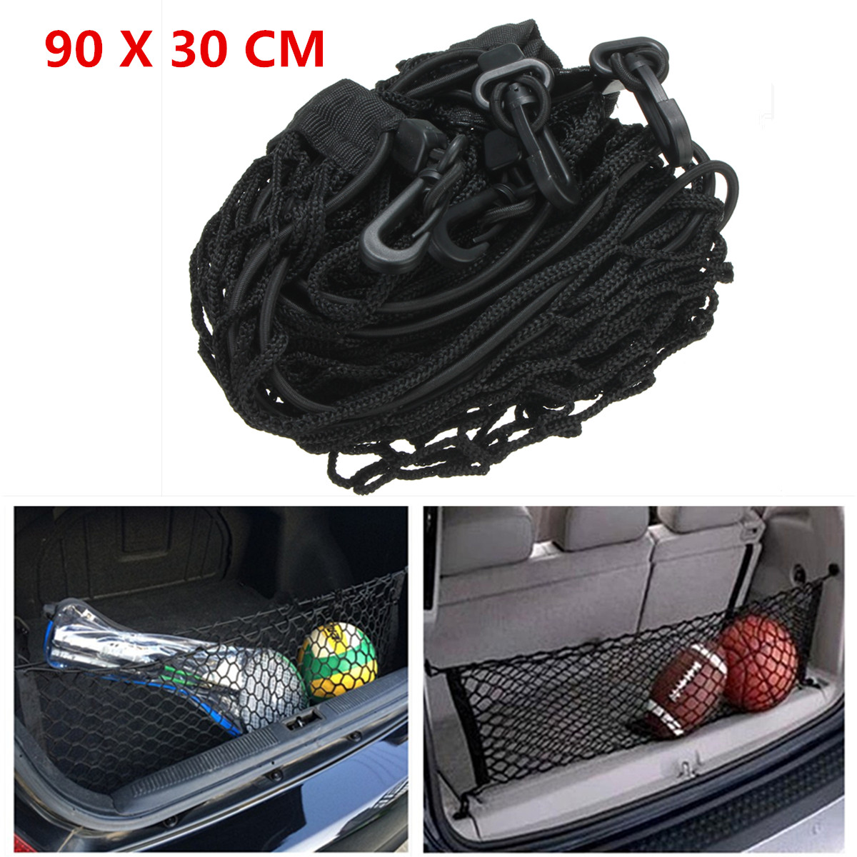 90x30cm Black Nylon Car Trunk Rear Cargo Organizer Storage Elastic Mesh Net
