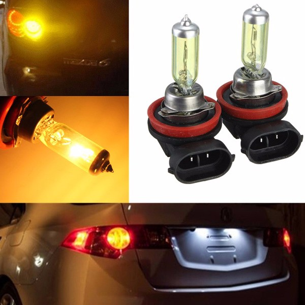 A Pair of H11 HID Xenon Light Bulbs Lamps DC12V Yellow 3000K-3500K