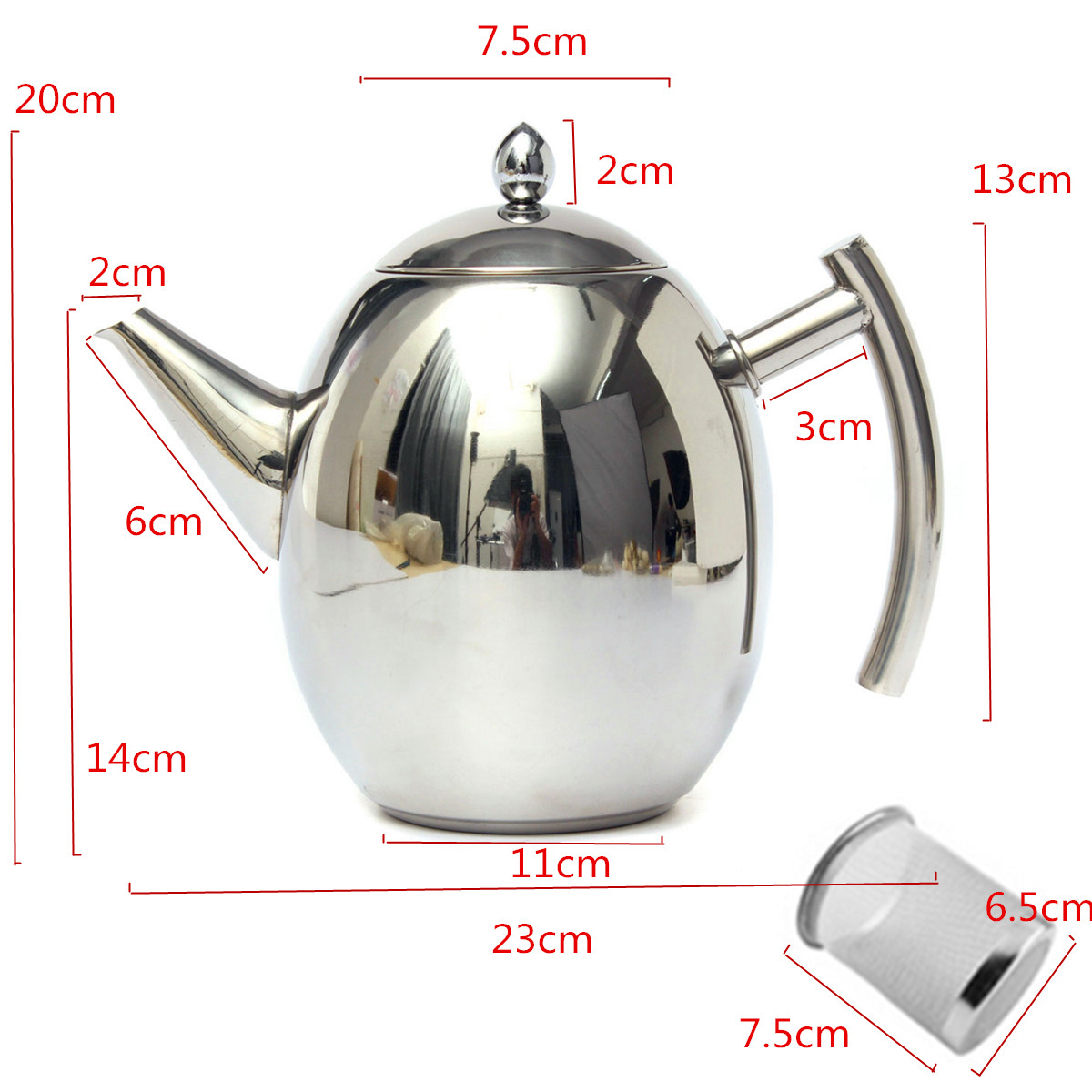 1500ML Stainless Steel Tea Coffee Pot Kettle With Strainer