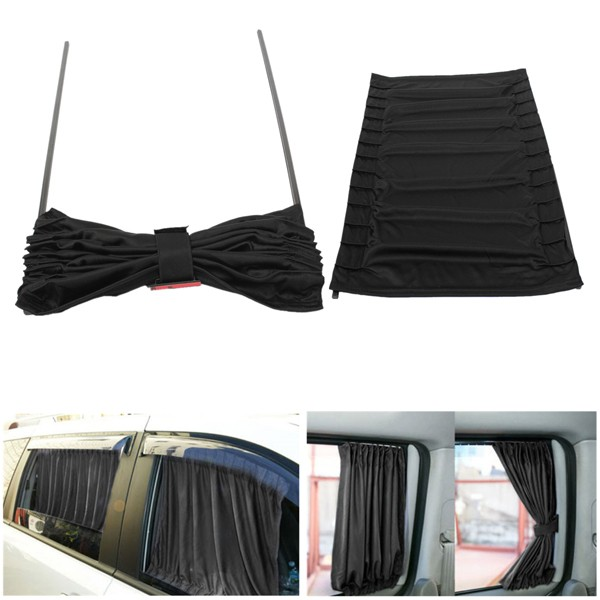 2pcs 70cm Retractable Auto Rear Valance Sunshade Drape Visor Car Window Curtain