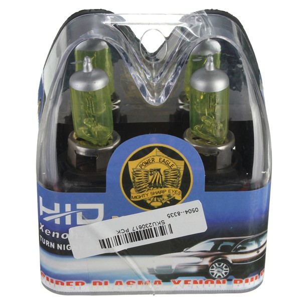A Pair of 9007 HID Xenon Light Bulbs Lamps DC12V Yellow 3000K-3500K
