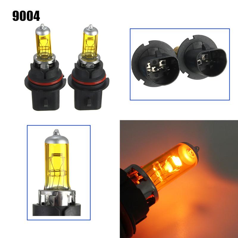 A Pair of 9004 HID Xenon Light Bulbs Lamps DC12V Yellow 3000K-3500K