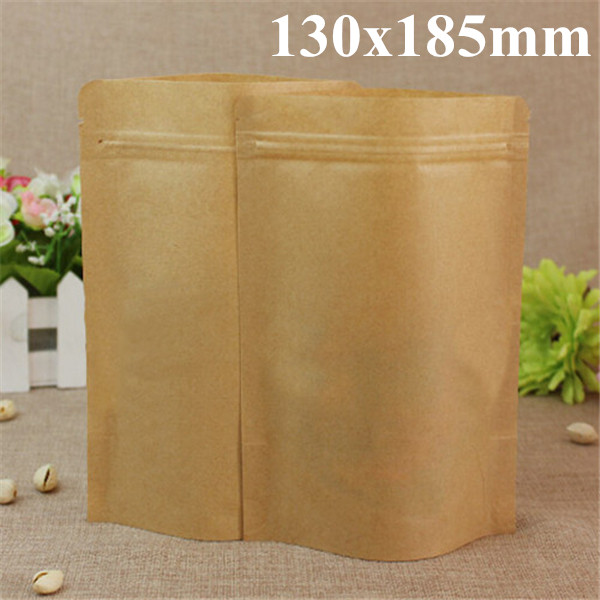 Kraft Paper Bags Aluminum Foil Packaging Stand Up With Zipper for Food Storage 130x185mm