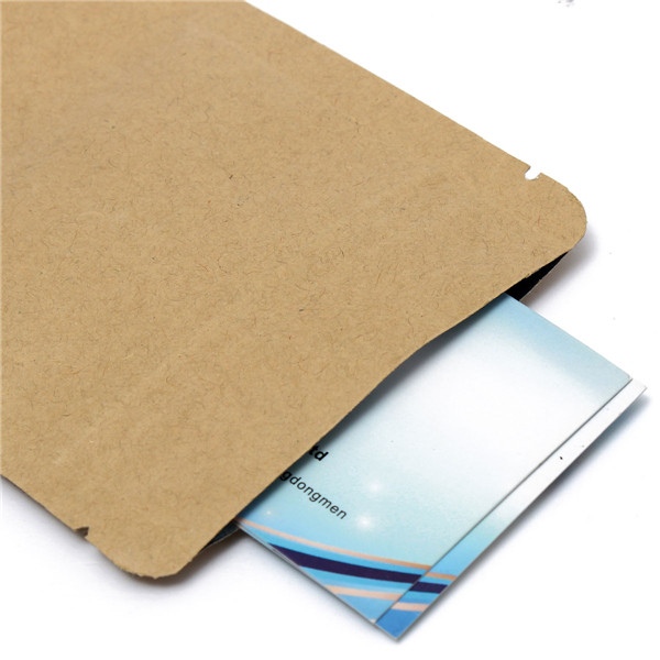 Kraft Paper Bags Aluminum Foil Packaging Stand Up With Zipper for Food Storage 90x140mm