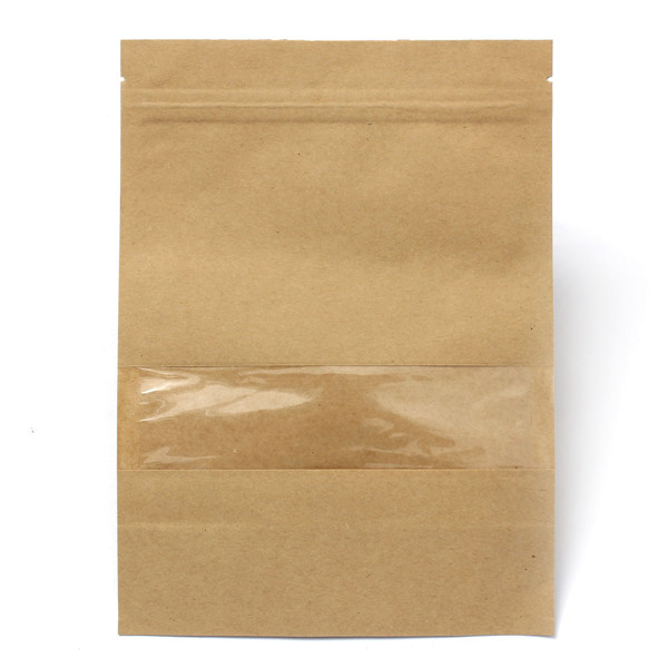 Kraft Paper Bags Packaging Stand Up With Zipper for Food Storage 160 x 220mm