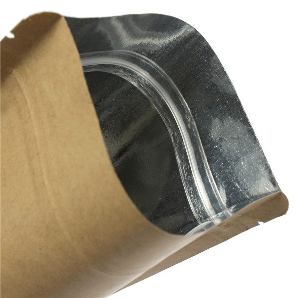 Kraft Paper Bags Aluminum Foil Packaging Stand Up With Zipper for Food Storage 150x240mm