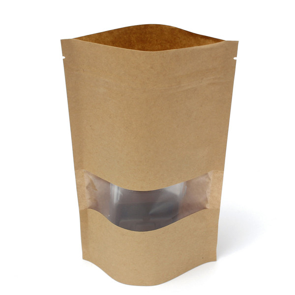 Kraft Paper Bags Packaging Stand Up With Zipper for Food Storage 140 x 220mm