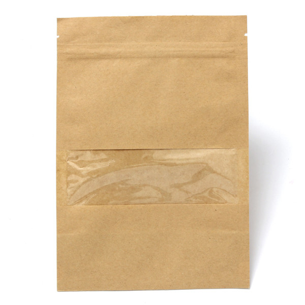 Kraft Paper Bags Packaging Stand Up With Zipper for Food Storage 140x200mm
