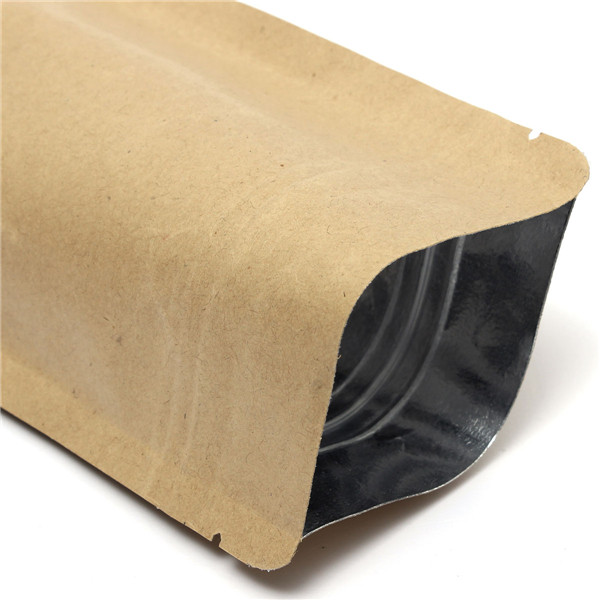 Kraft Paper Bags Aluminum Foil Packaging Stand Up With Zipper for Food Storage 110x185mm