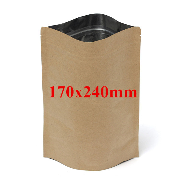 Kraft Paper Bags Aluminum Foil Packaging Stand Up With Zipper for Food Storage 170x240mm