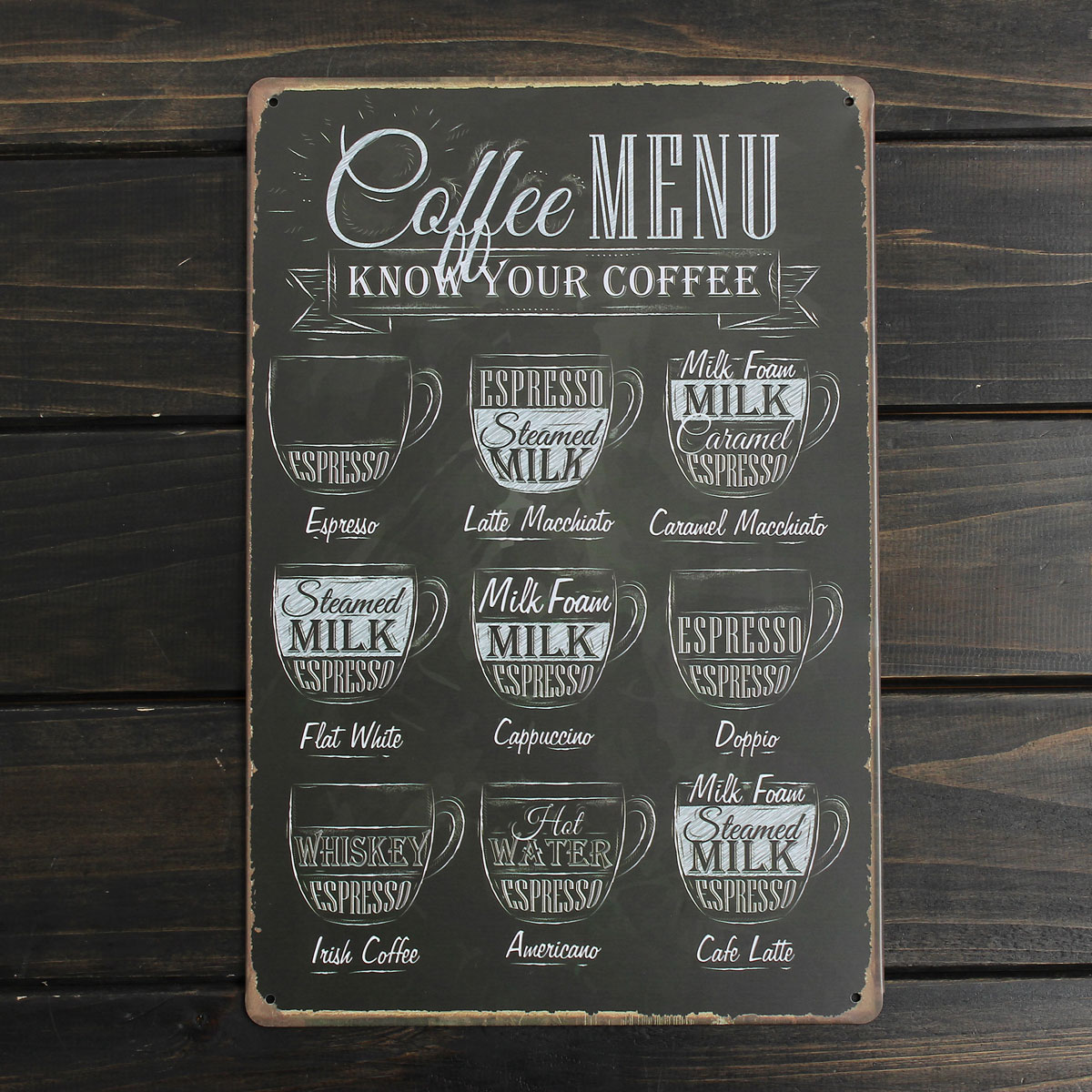 Coffee Menu Sheet Metal Drawing Metal Painting Tin Cafe Wall Tavern Poster Sign