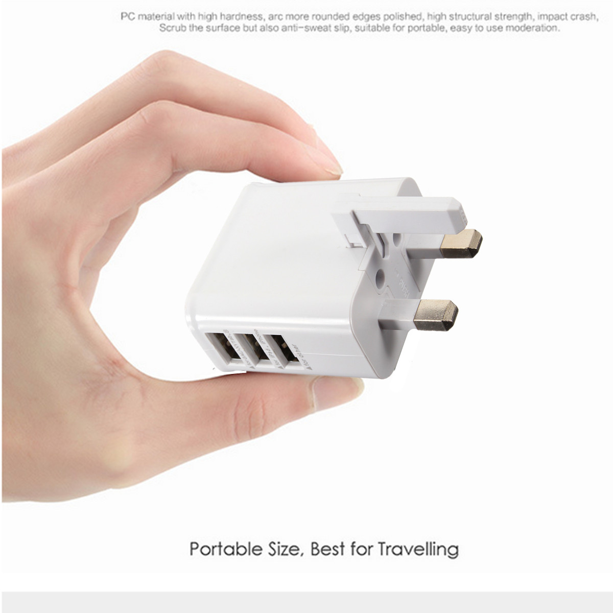 Universal UK Plug 3 USB Port 5V/3A Travel Wall Charger Adapter for Samsung LG iPhone