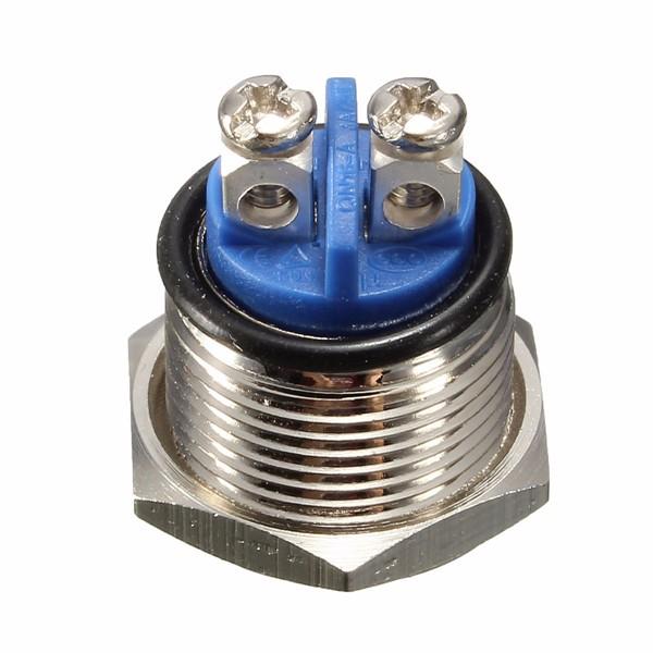 3A 250VAC 16mm Start Horn Button Metal Waterproof Push Button Switch Nickel Brass Button