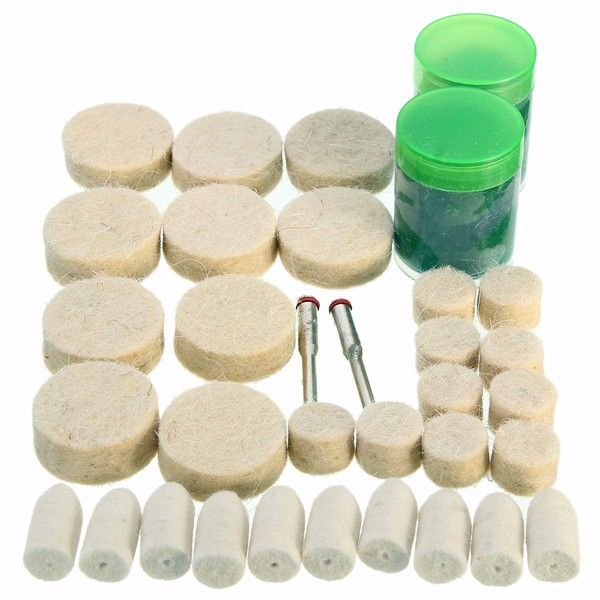 34pcs 1/8 Inch Wool Polishing Buffing Polish Wheel Kit for Dremel