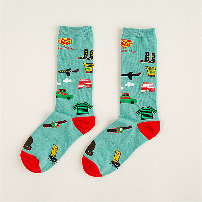 Women Girl Cotton Cute Fox Astronaut Sword Pattern Cartoon High Socks Hosiery Stockings