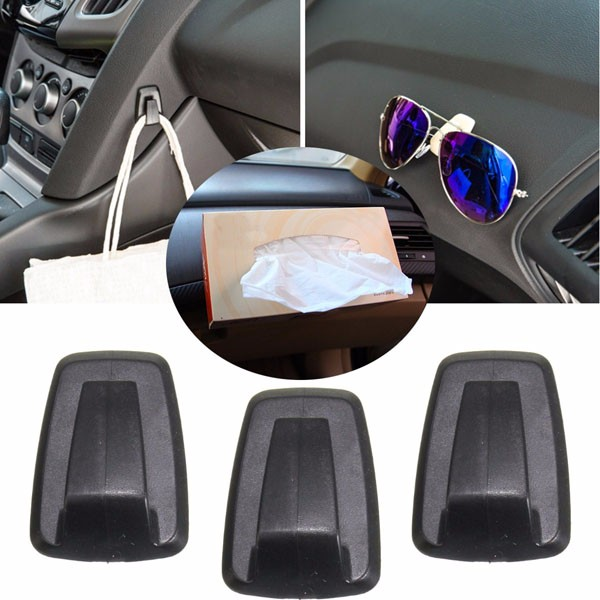 3pcs Universal Car Keys Mini Bag Hanger Hook Holder Sun Eye Glasses Clips