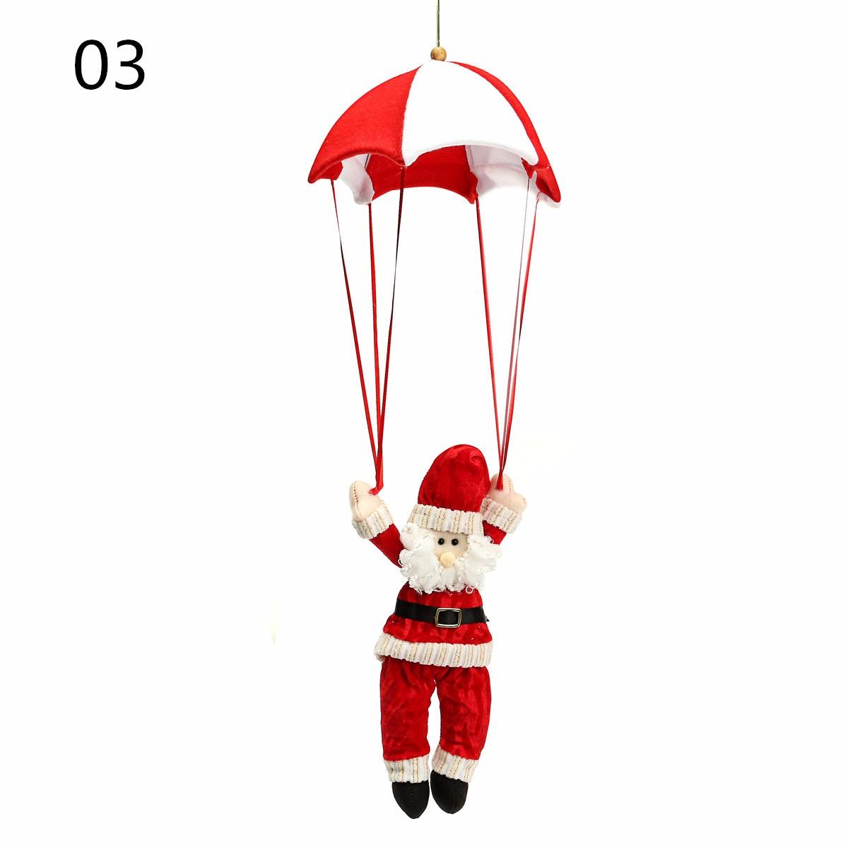 Christmas Tree Santa Claus Snowman Hanging Ornament Parachute Home Party Deocr