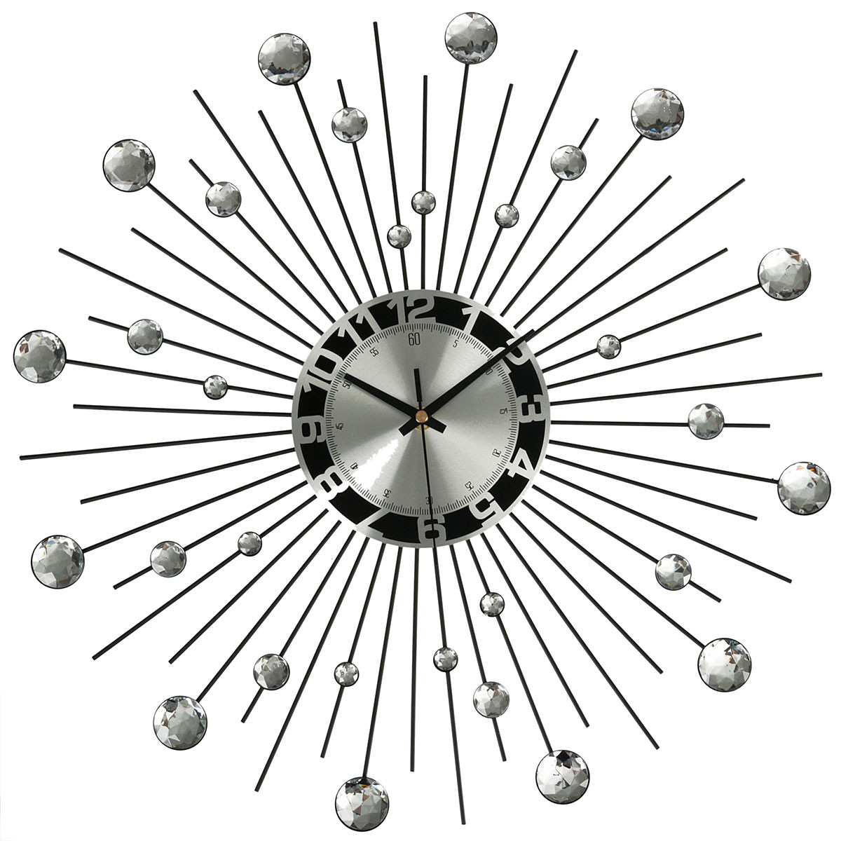 3D Wall Clock Diamante Beaded Rhinestones Mute Clock Sunburst Silver Home Wall Decor