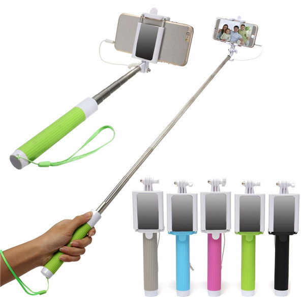 Extendable Handheld Selfie Stick Wired Remote Shutter Monopod With Rear View Mirror For Iphone 6s Cell Phone
