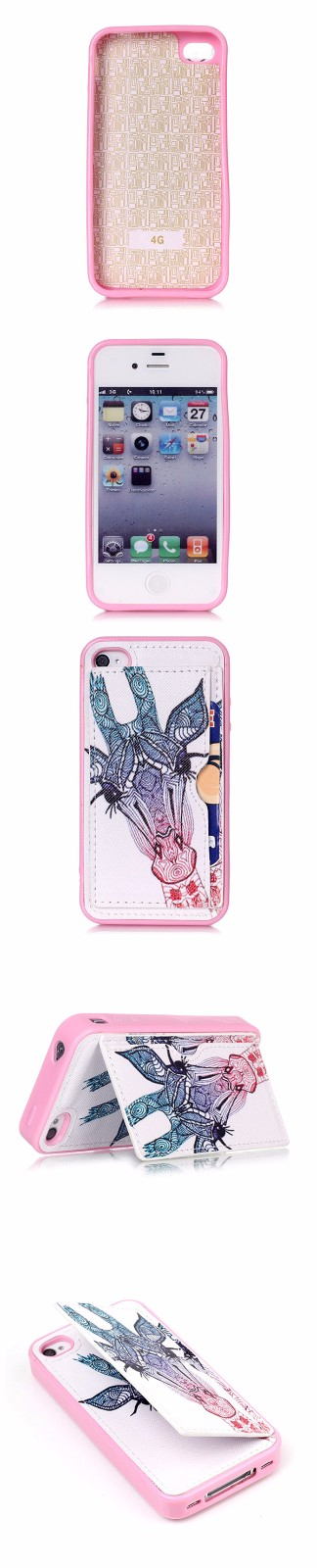 TPU+PU Leather Pink Creative Elephant/Flower/Dog/Tribe/Giraffe/OK/Macaron Case Cover For iPhone 4 4s