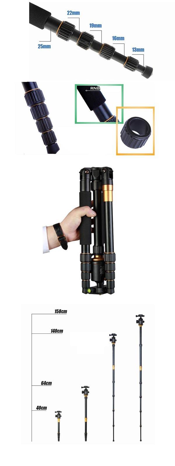 QZSD Q666 15KG Tripod With Q-02 360 Degree Swivel Fluid Head For DSLR Camera