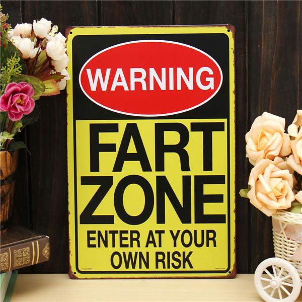 Fart Zone Sheet Metal Drawing Metal Painting Tin Shop Pub Wall Tavern Poster Sign