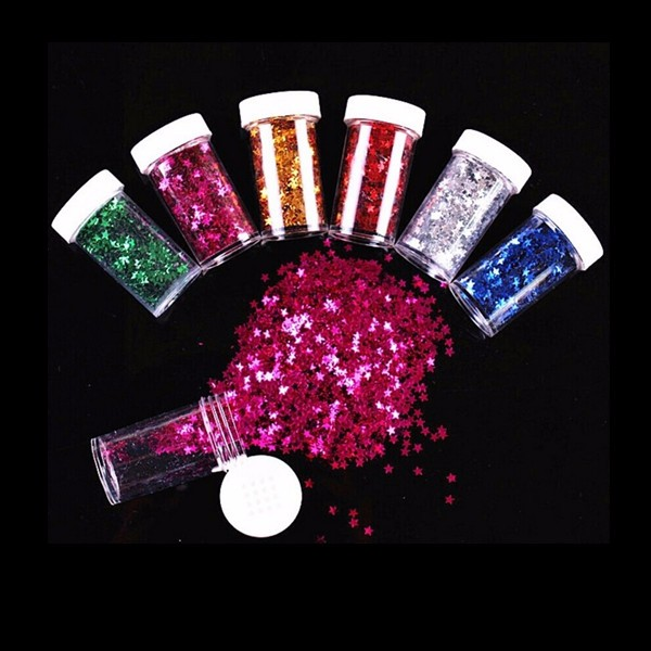 12PCS/Set Mixed Color Glitter DIY Slime Material Star Painting Artwork Decorations Dazzle Bright