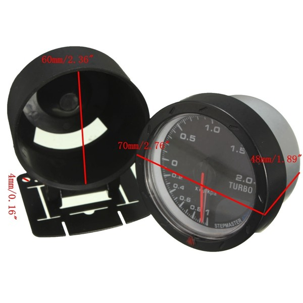 Universal 12V 60mm Black Car Auto Turbo Boost Gauge Meter With Mount Bracket