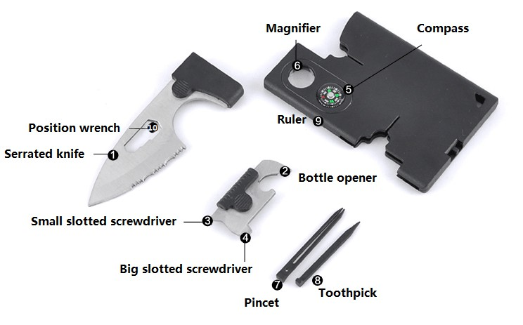 10-In-1 Multi Credit Card Serrated Knife Companion Tools With Compass Magnifying Screwdriver Tweezers