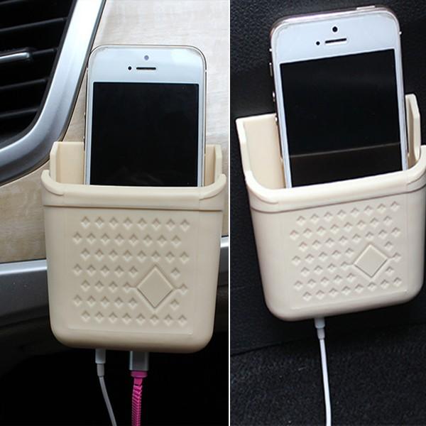 Mini Cream-colored Car Phone Storage Box Paste Type Car Phone Carrying Box Phone Holder