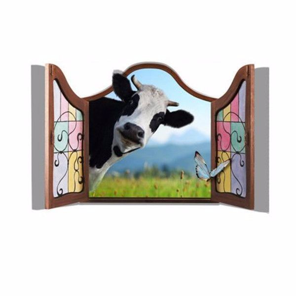 3D Dairy Cow Artificial Window View Cattle 3D Wall Decals Stickers Home Room Decor Gift