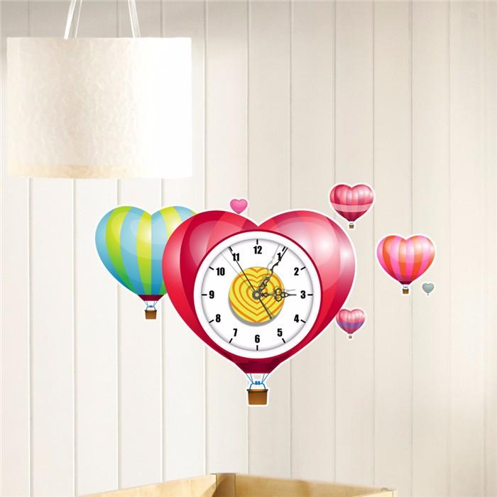 PAG STICKER 3D Wall Clock Decals Heart Shape Balloons Wall Sticker Home Wall Decor Gift