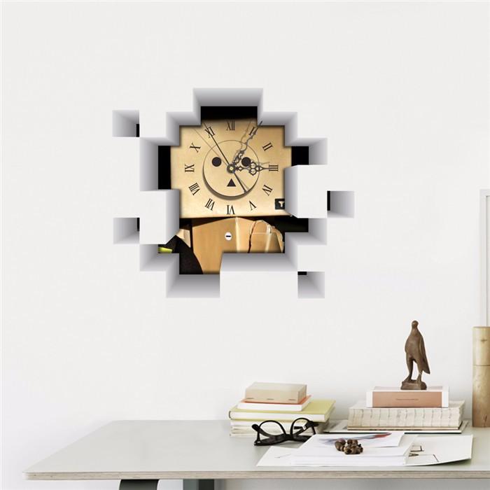 PAG STICKER 3D Wall Clock Decals Robot Blockhead Wall Hole Sticker Home Wall Decor Gift