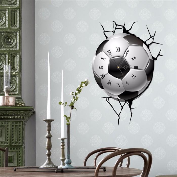 PAG STICKER 3D Wall Clock Decals Soccer Football Cracking Wall Sticker Home Decor Gift