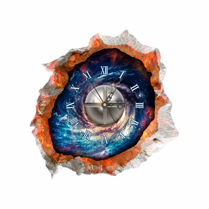 PAG STICKER 3D Wall Decals Clock Starry Sky Wall Hole Sticker Home Wall Decor Gift