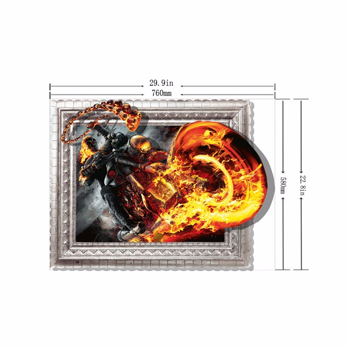 PAG STICKER 3D Wall Decals Fire Motor Bike Wall Painting Sticker Home Wall Decor Gift