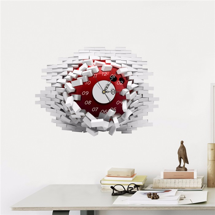 PAG STICKER 3D Wall Clock Decals Collapsed Wall Clock Sticker DIY Home Wall Decor Gift
