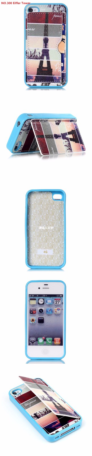 Blue Leather Creative Eiffel Tower/Tribal/Sea/Hamburg/Rabbit/Balloon/Smils Case Cover For iPhone 4s
