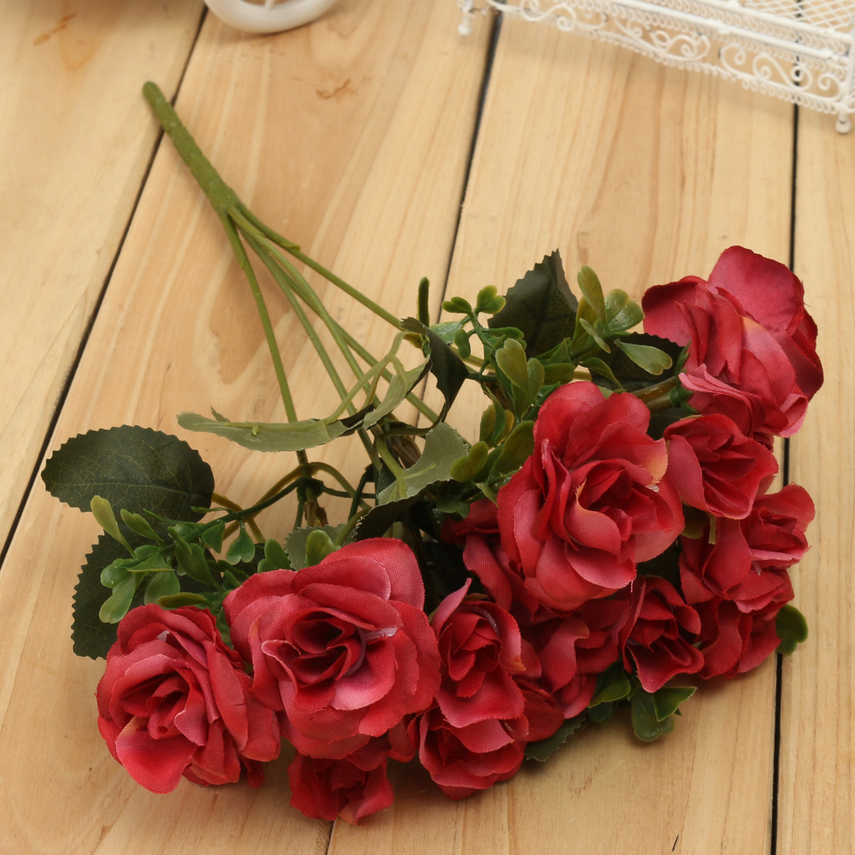 4 Colors Artificial Rose Bouquet Simulated Flowers Leaf Home Wedding Garden Decorations