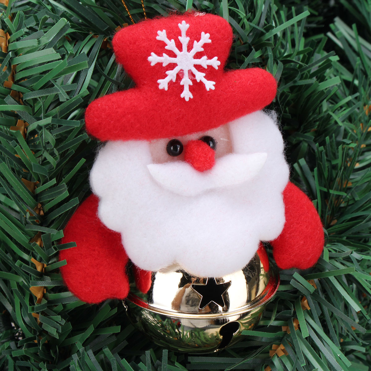 Christmas Santa Claus Snowman Elk Hanging Ornament With Bell Christmas Tree Decoration
