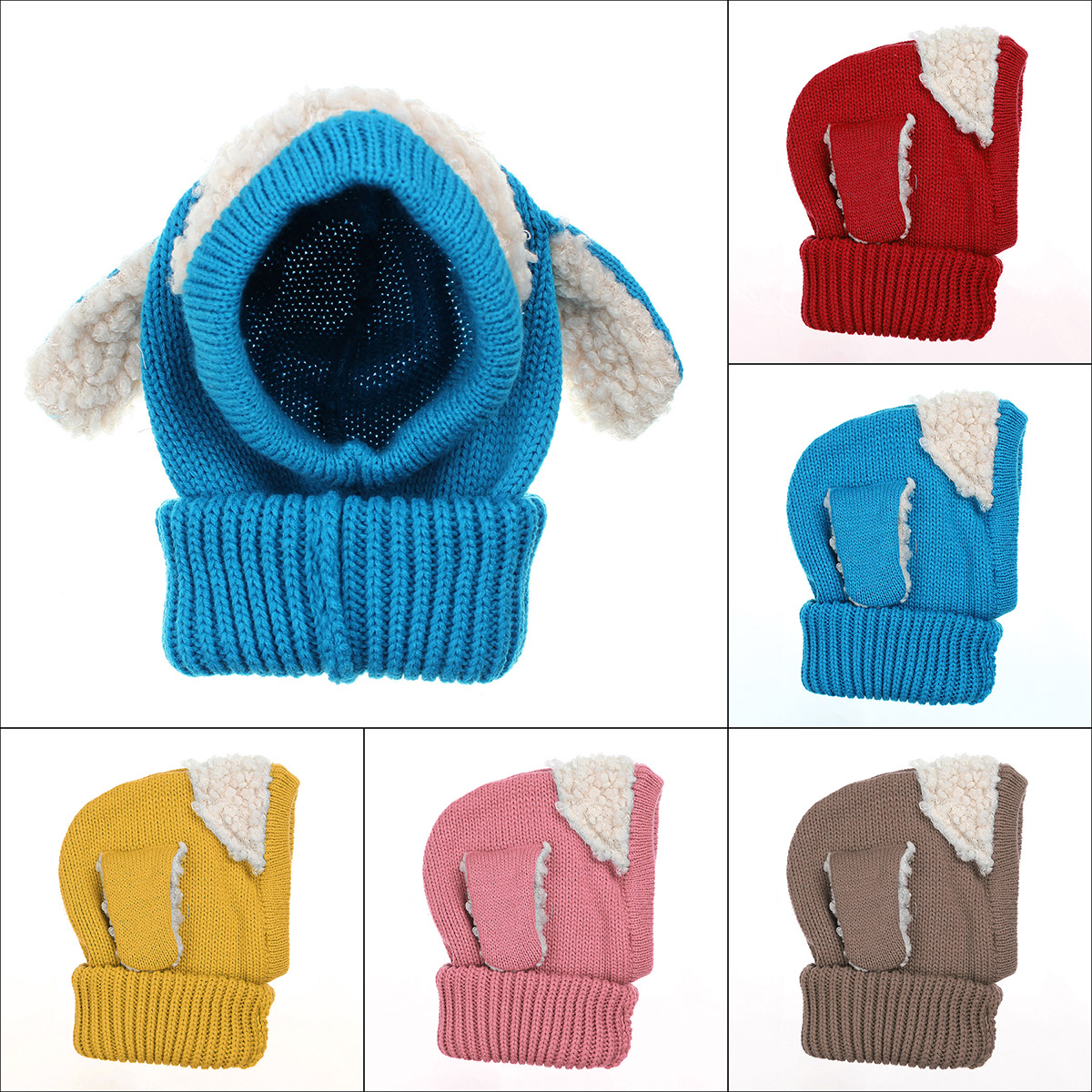 Children Baby Dog Ear Style Wool Cap Hooded Scarf Earflap Hat