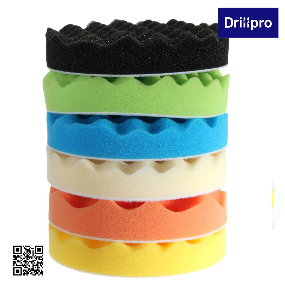 Drillpro 8x 6'' 150mm Sponge Polishing Waxing Buffing Pads Kit Compound Auto Car