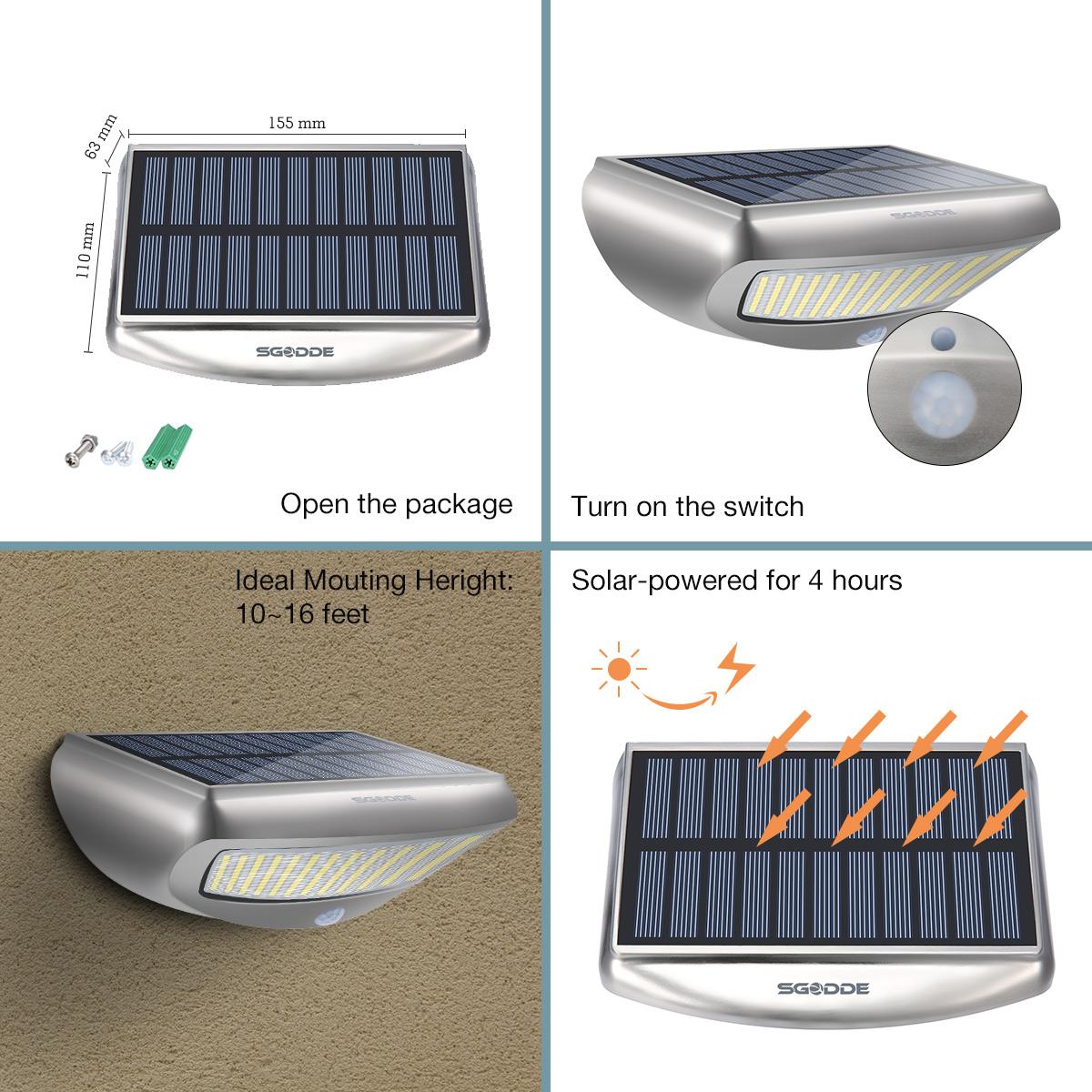 Solar lights outdoor motion sensor lights sgodde 36 led waterproof sgodde 36 led solar security light easy to use mozeypictures Gallery