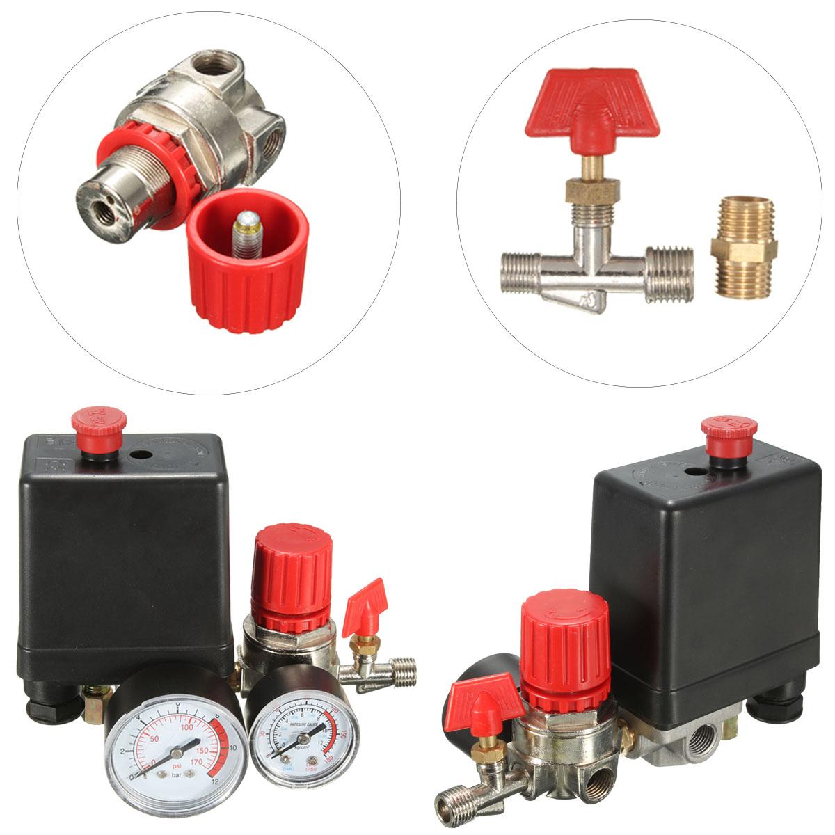 Interrupteur de soupape de pression de compresseur dair VIFER Small G1//8 R/égulateur de soupape de compresseur dair avec manom/ètres